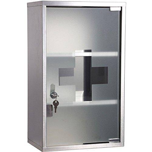 Outsunny - armadietto medicinali 50x30x18cm - unico con profondità da 18cm! - cassetta mobile bagno primo soccorso in acciaio inox con serratura