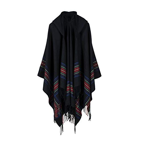 MJSP Women's Thick Color Strip Jacquard Shawl Wear Warm Long Fashion Hooded Cape Hooded Jacket,Black,One Size (Black Womens Hooded Cape)