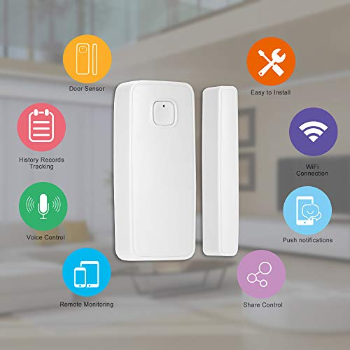 OWSOO Sensor de Puerta WiFi Inalámbrico Soporte Control de Tuya App Compatible con Alexa Google Home IFTTT
