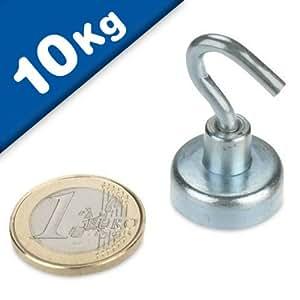 magnethaken magnet mit haken 20 mm neodym zink haftkraft 10 kg hakenmagnet starker. Black Bedroom Furniture Sets. Home Design Ideas