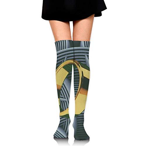 CVDGSAD Frauen-Mannschafts-Socken-Schenkel-hoher Knie-Goldring-langes Schlauch-Kleid-Legging Fußball-Kompressions-Strumpf