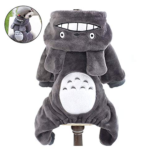 joizo Totoro Haustierkostüm für den Winter, Totoro-Kostüm, lustiger AFFE, Cosplay-Kleidung, für kleine und mittelgroße Hunde (Grau, S), grau, Large
