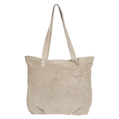 Christian Wippermann hochwertige Schultertasche aus butterweichem Leder selbst für DN-A4 Ordner - Beige Stoff Handtaschen