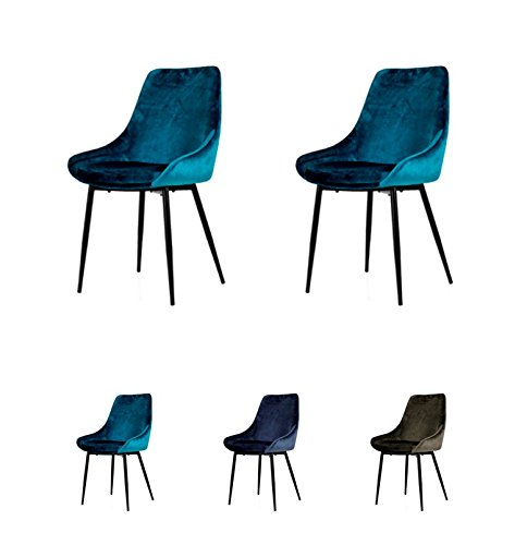 Tenzo Lex 2er-Set Designer Stühle, Metall, Petrol Blau, 85 x 47,5 x 56 cm (Hxbxt), Sitz : Stahl mit Schaum. Stoff : 100% Samt, Petrol Blau/Schwarz, Samtsitz