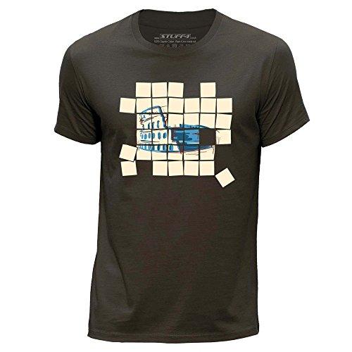 STUFF4 Herren/X groß (XL)/Dunkelbraun/Rundhals T-Shirt/Alt Mosaik/Colosseum
