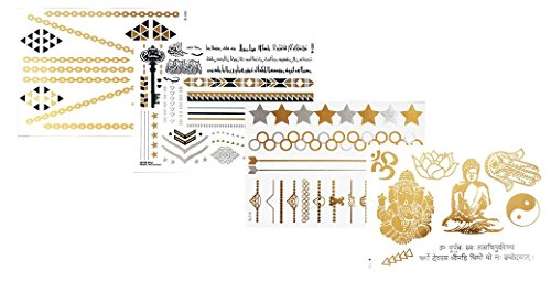 Tattoo Tatouage Temporaire Métallique Golden Metallic Gold Stickers de tatouage temporaire pour l'art corporel Formes dorées - SET W-A Temporary Tattoo Body Tattoo Sticker Set 4 in 1 - FashionLife