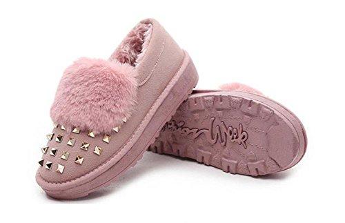 ZZHH Femmes velours rivet bottes de neige bottes de laine épais Pink
