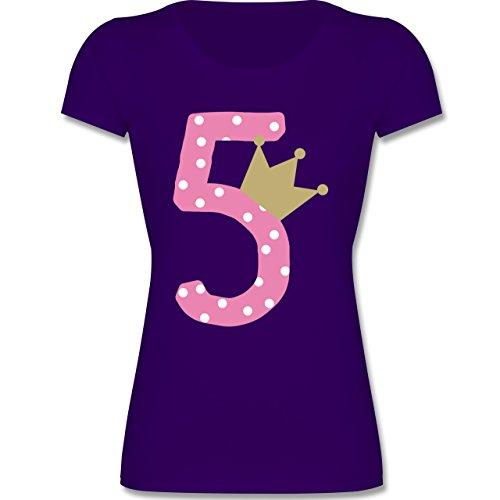 Geburtstag Kind - 5. Geburtstag Krone Mädchen - 116 (5-6 Jahre) - Lila - F288K - tailliertes Kinder T-Shirt für Mädchen mit Rundhalsausschnitt
