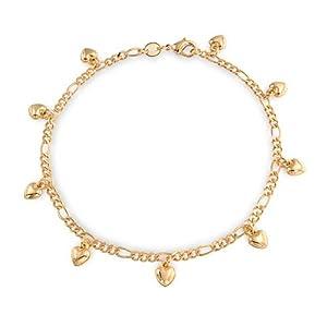 Bling Jewelry Gold gefüllt Figaro Kette Herz Armband Armschmuck 9 Zoll