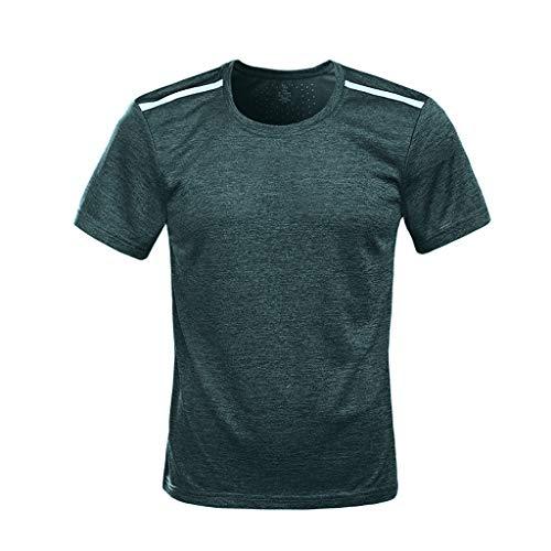 ADESHOP Herren Fitness Sport Schnell trocknend Atmungsaktiv Top O-Neck T-Shirt Sommer Casual Bluse