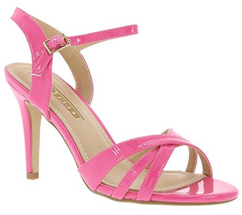 Buffalo Shoes 312703 Patent PU, Sandali con Zeppa Donna Pink