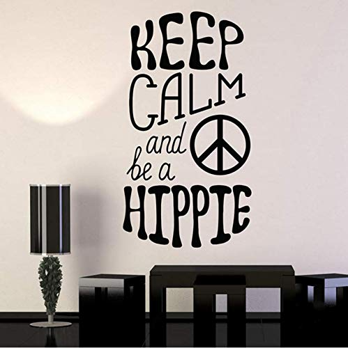 Hkkhkk Hippie Peace Love Symbol Vinyl Wandtattoo Home Decor Art Mural Wandaufkleber 79X43Cm