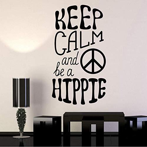 Hkkhkk Hippie Peace Love Symbol Vinyl Wandtattoo Home Decor Art Mural Wandaufkleber 79X43Cm (Diy Hippie-home Decor)
