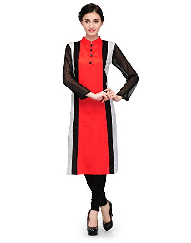 Cenizas Women Cotton Straight Kurta (Kurtis/9006/Red/M _Red _M)