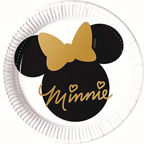 artyteller Disney Minnie Gold aus Pappe, 8 Stück, weiß, schwarz ()