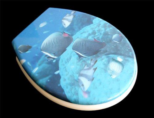 ADOB Duroplast WC Sitz Klobrille Modell Fische mit Absenkautomatik, zur Reinigung abnehmba, 59841