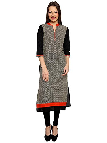 Kmouti Women's Cotton Black Kurta (Kmouti-2XXL)
