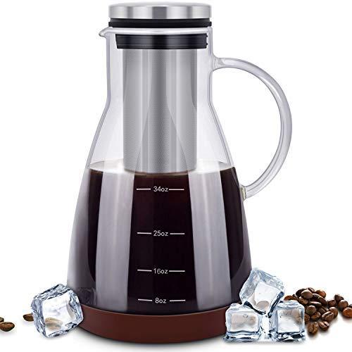 eseoe Kalten Brew Kaffeemaschine, Brauzucker Glas Karaffe mit abnehmbarem Filter aus Edelstahl und Silikon Untersetzer, Kaffee und Tee Maker BPA-frei, 900ml/1Quart Ice Coffee Krug -