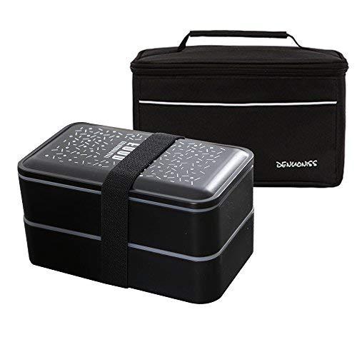 Simboom bento box e borsa termica porta pranzo set, 2 contenitore separato lunch box microonde cassaforte, borsa frigo per campeggio lavoro scuola nero
