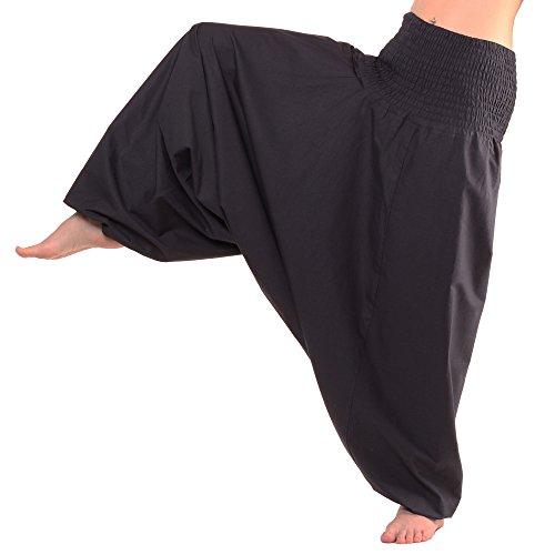 Leucht-Welten Pumphose, Aladin Pants 100 % Baumwolle, bequeme Goa Harems Hose Pluderhose in Einheitsgröße, schwarz (Harem Hose Schwarz)