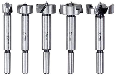 kwb 706090 Forstner-Bohrer-Set, 5-teilig für Holz 15, 20, 25, 30 und 35-mm mit abgedrehtem Schaft