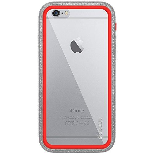 Amzer Crusta edge2edge Rugged Shell Case Cover mit Tempered Glas und Holster für iPhone 6schwarz/Space Grey _ P Grey, Red