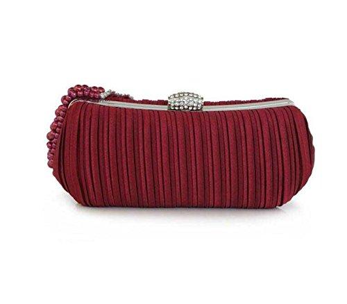 Damen Abendessenbeutel Diamant Damen Perlenhandtasche Handy Kosmetiktasche Redwine