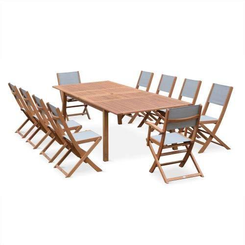 Salon de Jardin en Bois Extensible - Almeria Table 200/250/300cm avec 2 rallonge, 2 fauteuils et 8 chaises, en Bois d'Eucalyptus FSC huilé et textilène Gris Anthracite