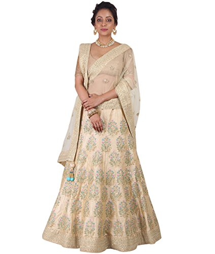 Indian Ethnicwear Bollywood Pakistani Wedding Cream A-Line Lehenga Semi-stitched-DIVISL024