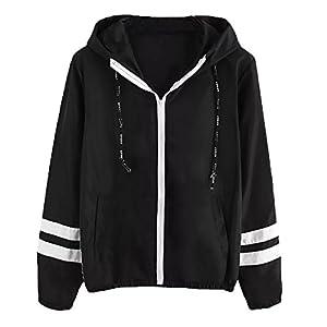 Damen Mantel Kurz Pullover mit Tasche feiXIANG Patchwork Streifen Langarm Outwear Herbst Winter Jacke
