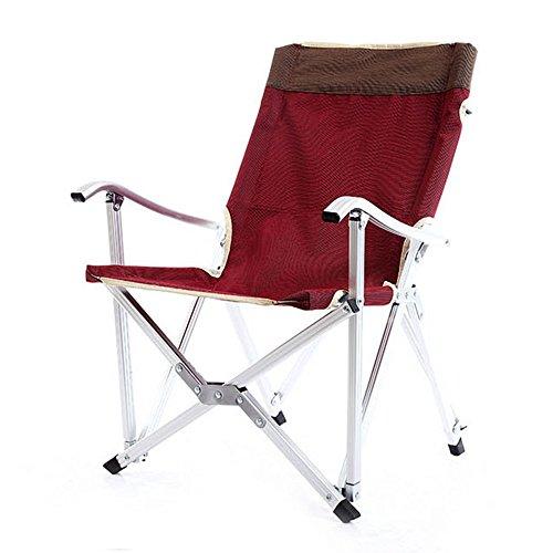 T-Y Chaise Pliante Alliage d'aluminium Ultra léger avec Dossier Chaise de pêche Chaise Longue de Pont Portable Chaise de Plage (Couleur : Rouge)