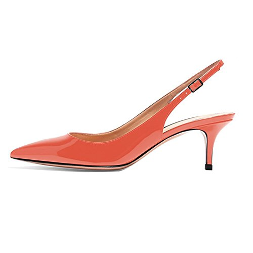 EKS Frauen Spitzschuh Mid Heels Slingback Patent Kleid Party Pumps Schuhe Orange 39 EU
