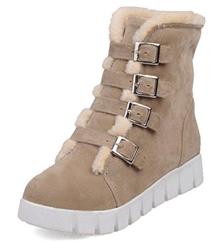 YE Damen Plateau Flache Warm Gef眉tterte Schneestiefel Winter Stiefeletten mit Schleife Fell Elegant Cute Bequeme Schuhe Beige