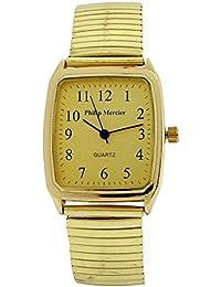 Philip Mercier MC47B - Reloj para hombres, correa de metal color dorado