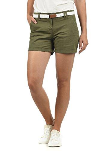 DESIRES Chanett Damen Chino Shorts Bermuda Kurze Hose mit Gürtel Stretch, Größe:42, Farbe:Dusty Olive (3784)