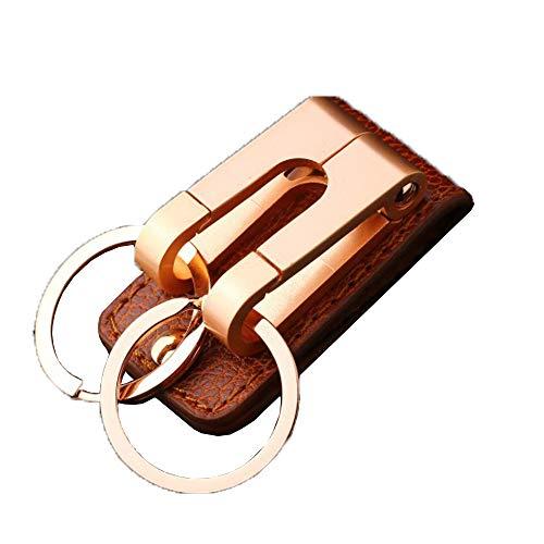 WQF Leder Doppel-Ring-Schlüsselanhänger Männer Auto Taille Schlüsselanhänger Kreative Gürtel Schlüsselanhänger für alle Gelegenheiten Zink-Legierung-Material -