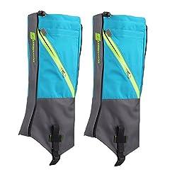 Generic 1 Pair Waterproof Snow Legging Boot Gaiters Leg Covers Rugged Outdoor Walking Hiking Climbing - Sky Blue Grey