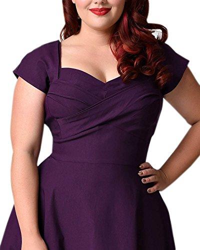 50d45832de7 BIUBIU Women s 50s Plus Size Vintage Swing Dress Bridesmaid Cocktail ...