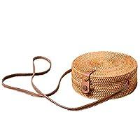 WOVELOT Bali Vintage Handmade Crossbody Leather Bag Round Beach Bag Girls Circle Rattan Bag Small Bohemian Shoulder Bag