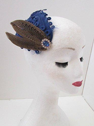 Bibi à plumes avec clip cheveux argenté Bleu marine/marron argenté