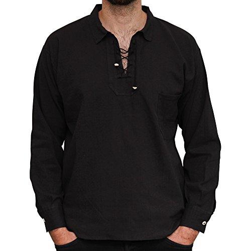 Camicia estiva in cotone leggera con cordoncino prodotta tramite commercio etico. nero.