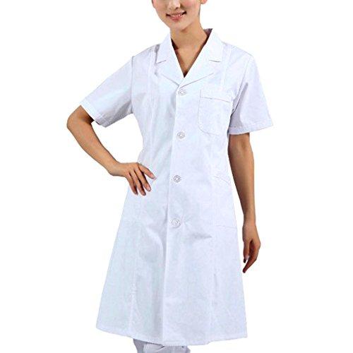 MagiDeal Labormantel Laborkittel Damen Herren Kurzarm Kittel Medizin weiß Arztkittel Berufsbekleidung Arztkittel - Weiß damen, XL
