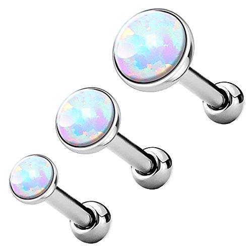 Piercingfaktor Tragus Piercing Helixpiercing Helix Ohr Cartilage Knorpel Stecker mit flachen Opal Steinen Rund Silber Weiß Set