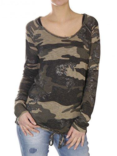 Key Largo Damen Shirt Oberteil Pullover Langarm EXPLORE camouflage rundhals destroyed, Farbe: Khaki, Grösse: L