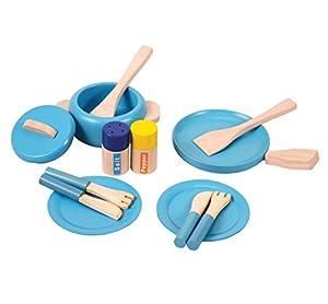 Inspirational Nurseries 14044 - Juego de ollas y sartenes de Madera, Color Azul
