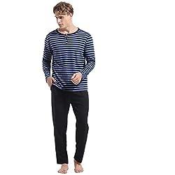 Abollria Pijamas Hombre Algodón 2 Piezas Mangas Larga Pantalon Largo Invierno Cómodo y Agradable