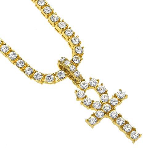 mcsays CZ Big Crystal Ägypten Ankh Kreuz Anhänger HIP HOP Key of Live Tennis kubanischen Kette Halskette Bling Gold/Silber/Schwarz Farbe Fashion Jewelry Accessories (Herren-gold-charms Für Halsketten)
