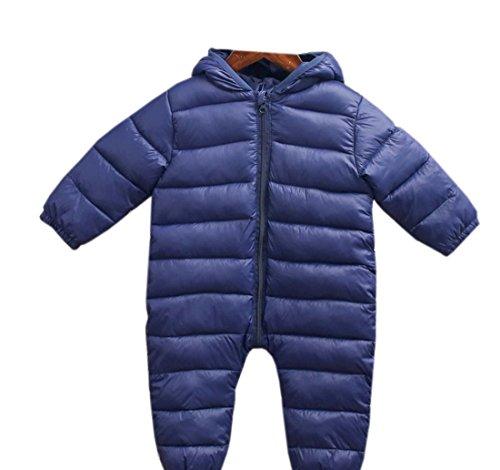 XueXian(TM) Fille Garçon Bébé Combinaison de Neige avec Chapeau Zip Longue en Coton(18-24mois,bleu marine)
