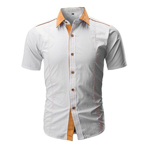 Herren T Shirt,Herren Shirt,Herren Hemd Kurzarm,FRIENDGG,Herren Pullover,Männer 2018 Taste Umlegekragen Gut aussehend Casual Beiläufig Herbst Sommer Bluse Pullover Für Männer (XXXL, Weiß) -