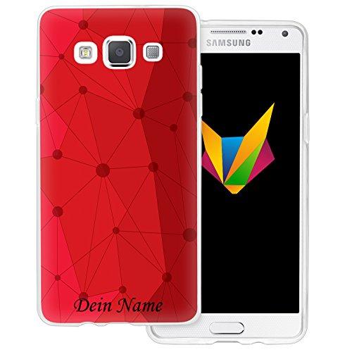 Mobilefox Grafik mit Namensdruck transparente Silikon TPU Schutzhülle 0,7mm dünne Handy Soft Case für Samsung Galaxy A5 (2014-2015) Grafik Atomium Rot